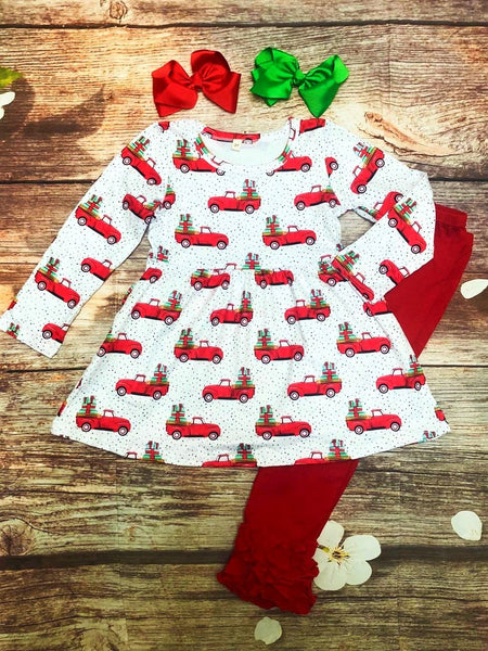 Red Truck Christmas Present Delivery Tunic & Ruffle Leggings Set - MY 4 Princesses LLC