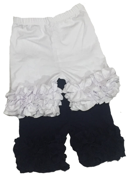 Girls Ruffle Shorts - Navy or White