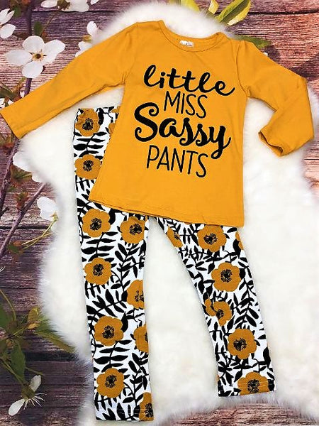 "Mustard & Black ""Little Miss Sassy Pants"" Floral Legging Set - My 4 Princesses LLC"