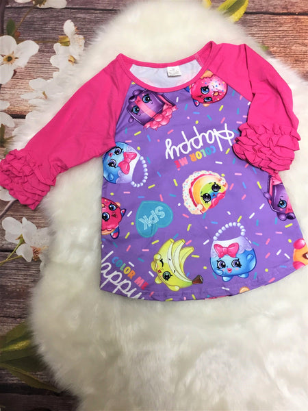 Shopkins Ruffle Raglan Shirt - My 4 Princesses LLC