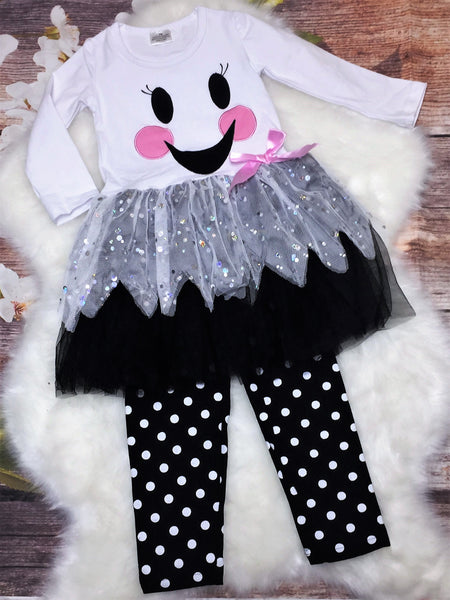 Girls Silly Ghost Tutu Polka Dot Pant Set - My 4 Princesses LLC