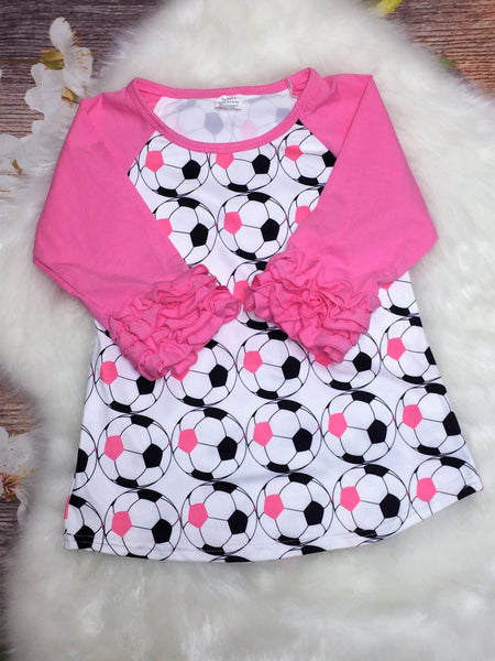 Girls Soccer Pink Ruffle Sleeve Raglan - My 4 Princesses LLC