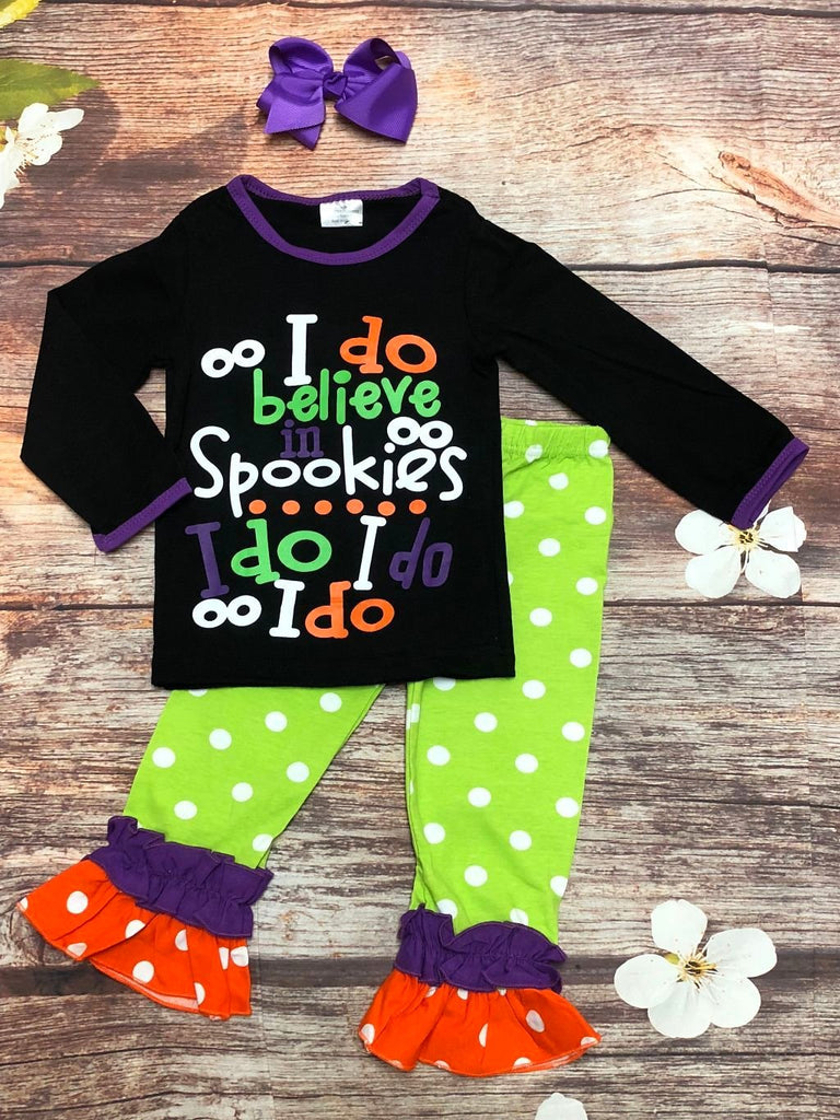 'I do Believe in Spookies' Halloween Pant Set - My 4 Princesses LLC
