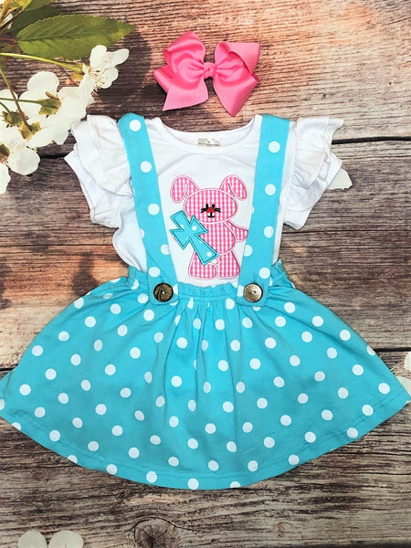 Gingham Bunny with Cross Polka Dot Suspender Skirt Set - My 4 Princesses LLC