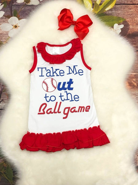 Take Me Out to the Ball Game Ruffle Dress - My 4 Princesses LLC