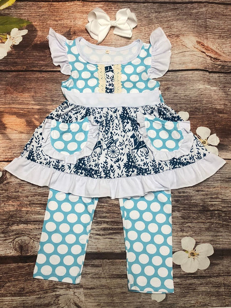 Analeise Teal Polka Dot Pant Set - My 4 Princesses LLC