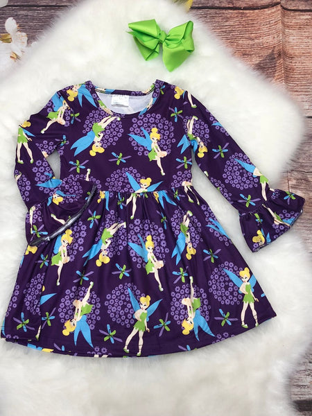 Purple Tink Inspired Bell Sleeve Dress - My 4 Princesses LLC