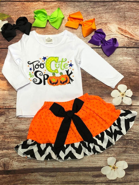 'Too Cute to Spook' Boutique Halloween Skirt Set - My 4 Princesses LLC