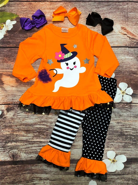 Trick-or-Treat Friendly Ghost Ruffle Pant Set - My 4 Princesses LLC