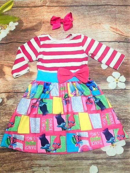 Trolls Striped 3/4 Sleeve Dress - My 4 Princesses LLC