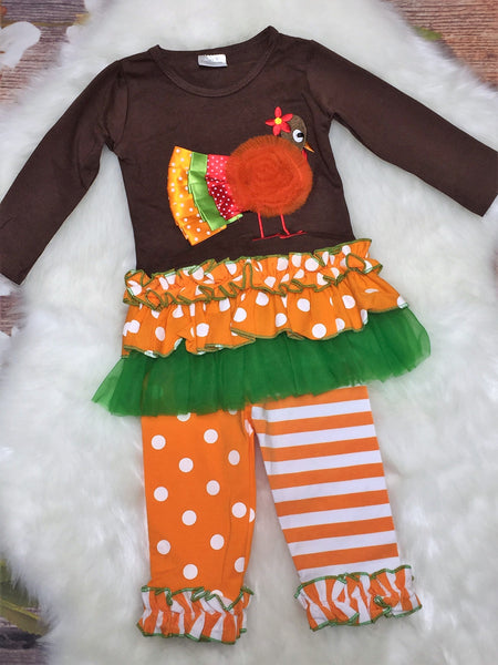 Girls Fancy Turkey Pant Set - My 4 Princesses LLC