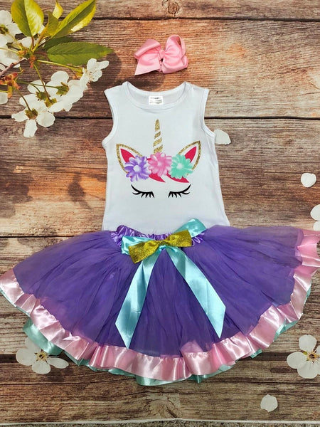 Girls Unicorn Tank & Pettiskirt Set - My 4 Princesses LLC