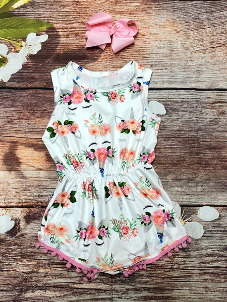Unicorn Pom-Pom Romper - My 4 Princesses LLC