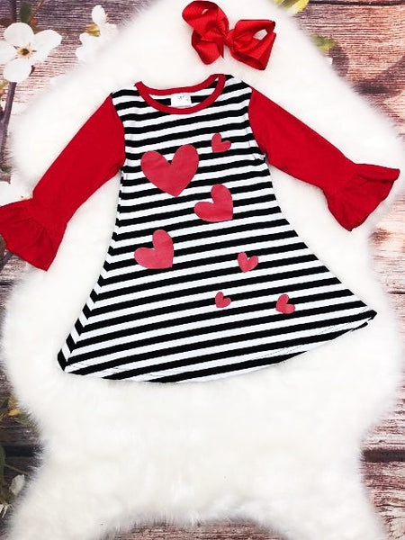 Black and White Striped Hearts Dress - My 4 Princesses LLC
