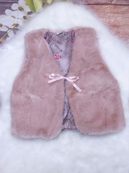 Girls Tan Fur Vest - My 4 Princesses LLC
