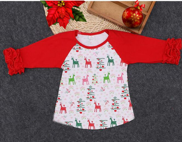 Girls Red with Reindeer Christmas Ruffle Sleeve Raglan T-Shirt - My 4 Princesses LLC