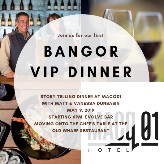 VIP Bangor Wine Dinner at MACq01, Hobart, Tasmania