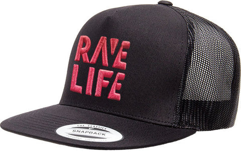 RAVE LIFE Red Logo Trucker Hat