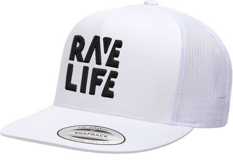 RAVE LIFE Black Logo White Lid Trucker Hat