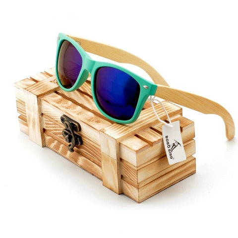 Bamboo Wood Sunglasses Aqua Frame by Bobo Bird