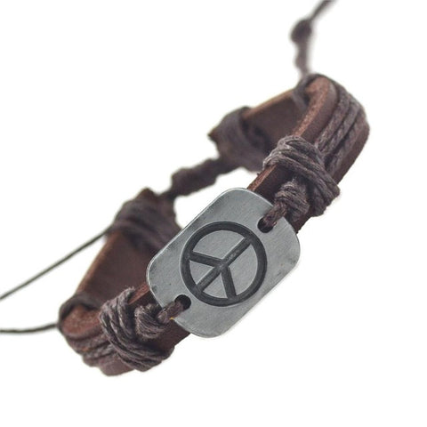 Genuine Leather and Hemp Peace Bracelet