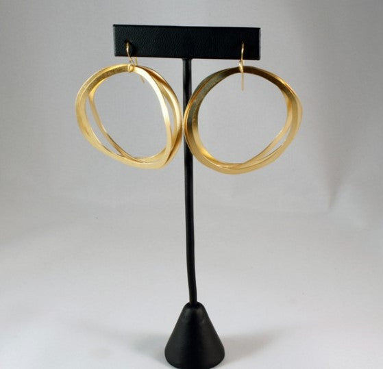 Gold Three Ring Hoops