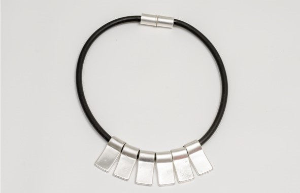 Silver and Black Tube Necklace