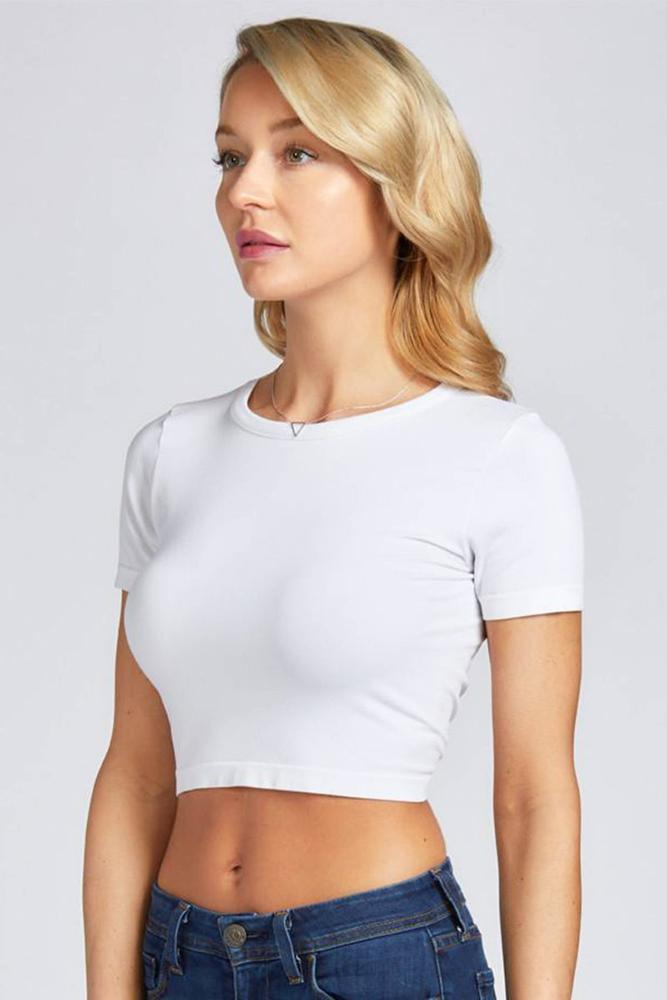 Bamboo Crop Tee - White