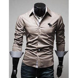 Embroidery Male Slim Long Sleeve Shirts - Xamns