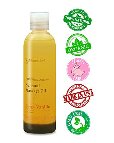 100% Natural Organic Sensual, Edible Massage Oil for Body