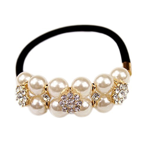 CINRA Boutique White Pearl Hair Rope Headband - Xamns