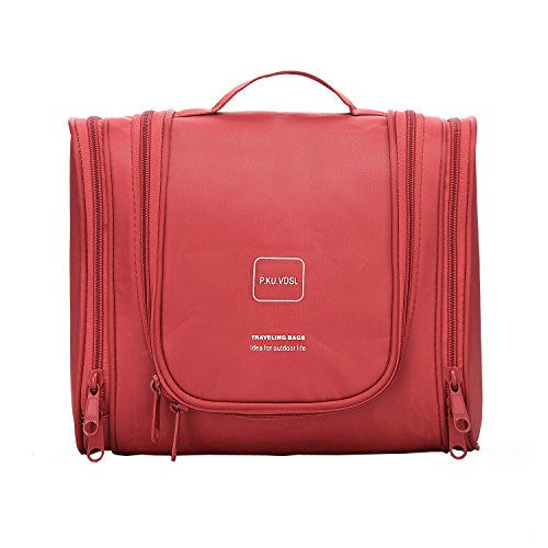 Toiletry Bags Hanging Toiletry Kit Waterproof Rose Red)