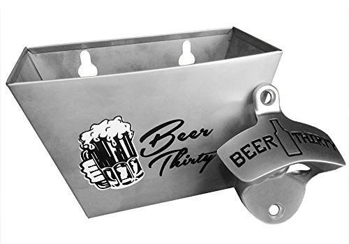 Wall Mounted Bottle Opener with Matching Stainless Steel Cap Catcher