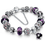 Beaded Handmade Carved Sterling Silver Plated Snake Chain Bracelet Purple