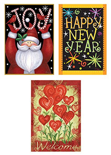 Toland Home Garden Christmas To Valentine Day Flag Bundle