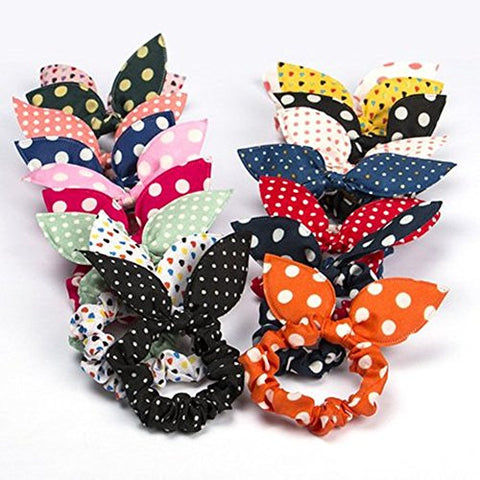 10pcs Rabbit Ears Hair Bands Color Randomly - Xamns