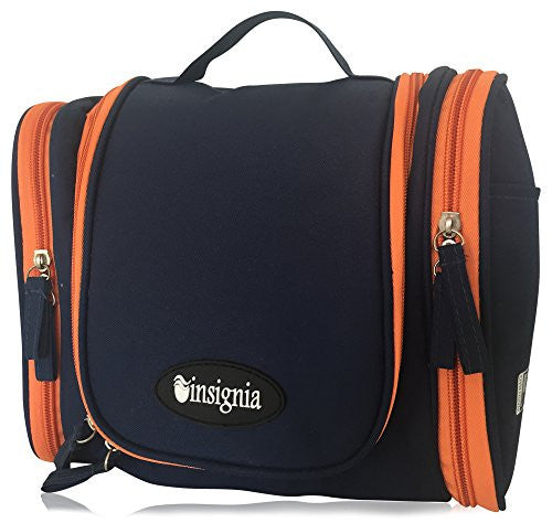 "Hanging Toiletry Bag: Insignia Mall Travel Cosmetic Organizer For Men, Women, Boys, Girls With Side Pockets, Compartments. Folded Size: H: 9.8"" x W: 4.4"" x L: 8.3"" (Large, Navy Blue)"