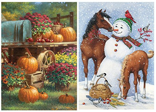 Toland Home Garden Autumn to Christmas Country Farm Theme Flag Set