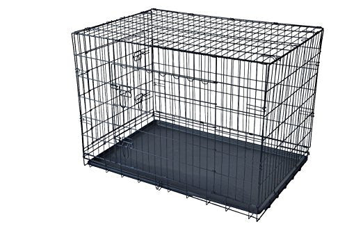 "48"" 2 Door Pet Cage Folding Dog w/Divider Cat Crate Cage Kennel w/Tra"