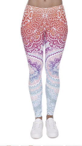 Women Fashion Legging Aztec Round Ombre Printed Pent