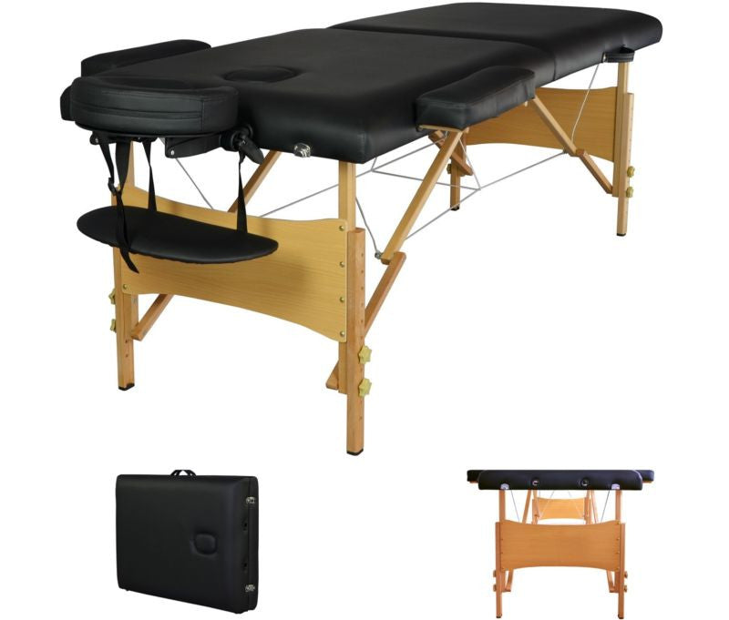 "2"" Pad 84"" Black Portable Massage Table"