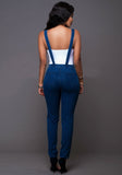 Deep Blue Flexible Fit Zip Jean Overalls