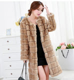 Women's Winter Real Mink Fur Coat Long O-Neck Parkas
