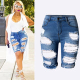Washed Distressed Midi Short Jeans