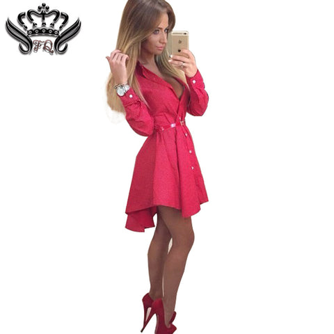 Women's Shirt Dress Irregular Long Sleeve Mini Vestidos