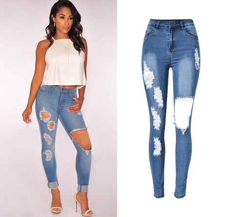 Ripped Skinny Hole Denim Pencil Pants Stretch Trousers