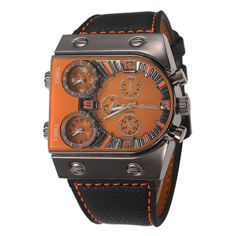 Luxury Men Leather Waterproof Big Face Quartz-Watch