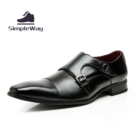 Leather Black Formal Dress Shoes - Xamns