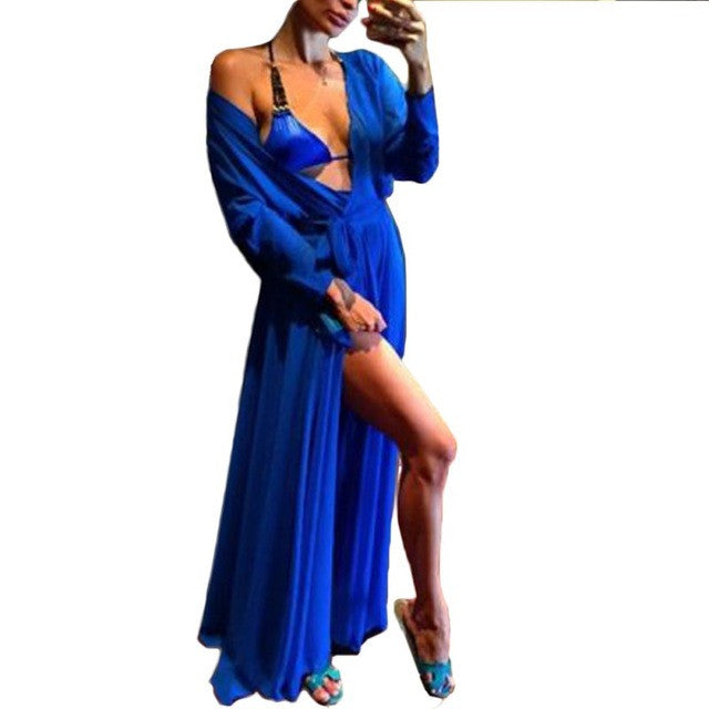 WOMEN CHIFFON SWIMWEAR BIKINI COVER UP DRESS BEACHWEAR BATHING SUIT