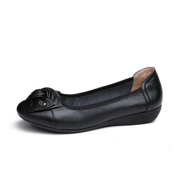Handmade Genuine Leather Ballet Flat Shoes - Xamns